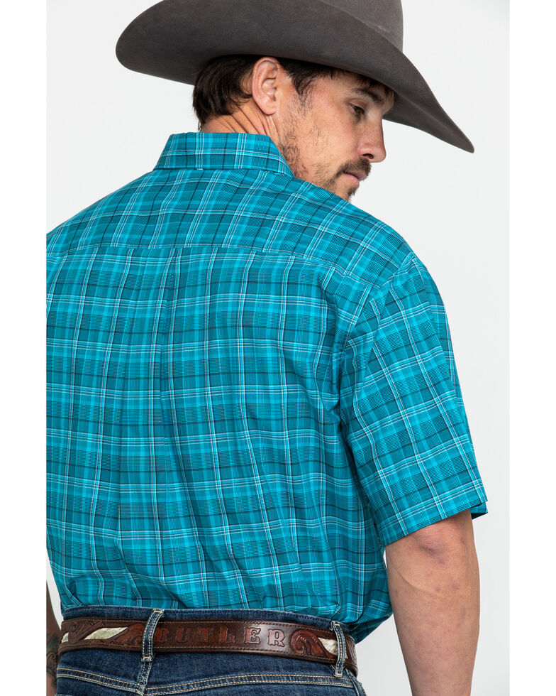 Cinch Men's Teal Med Plaid Short Sleeve Western Shirt , Teal, hi-res