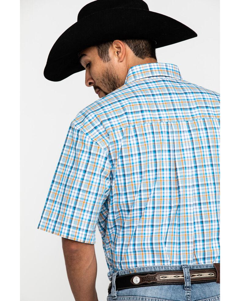 George Strait by Wrangler Men's Orange Small Plaid Short Sleeve Western Shirt , Orange, hi-res