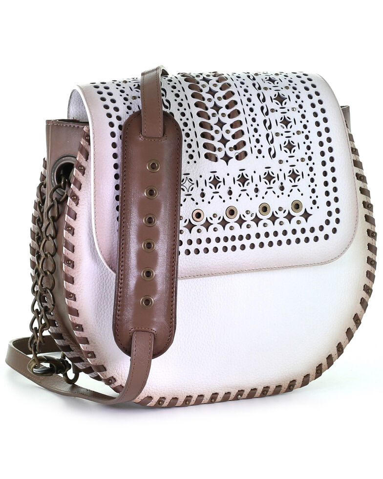 Corral Women's White Laser Woven Purse, White, hi-res