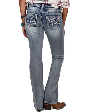 Shyanne® Women's Embroidered Mid Rise Boot Cut Jeans, Blue, hi-res