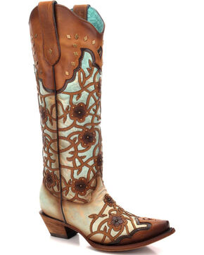 Corral Women's Flower Overlay Studded Tall Western Boots - Snip Toe, Lt Brown, hi-res