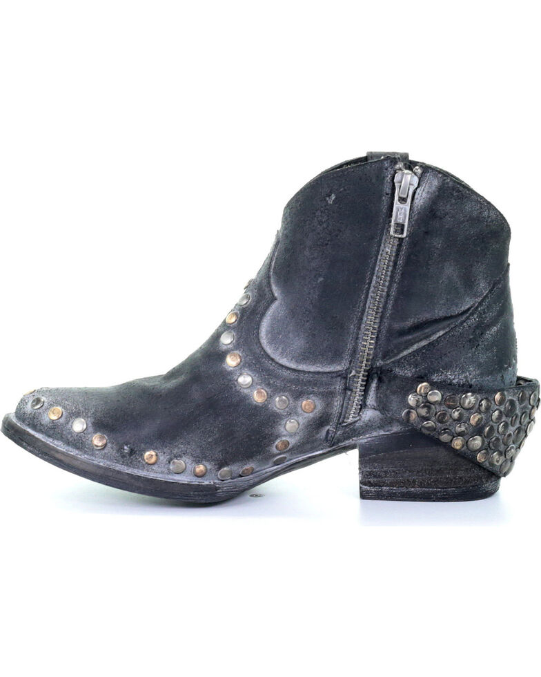 Circle G Women's Grey Harness & Studded Booties - Round Toe, Grey, hi-res