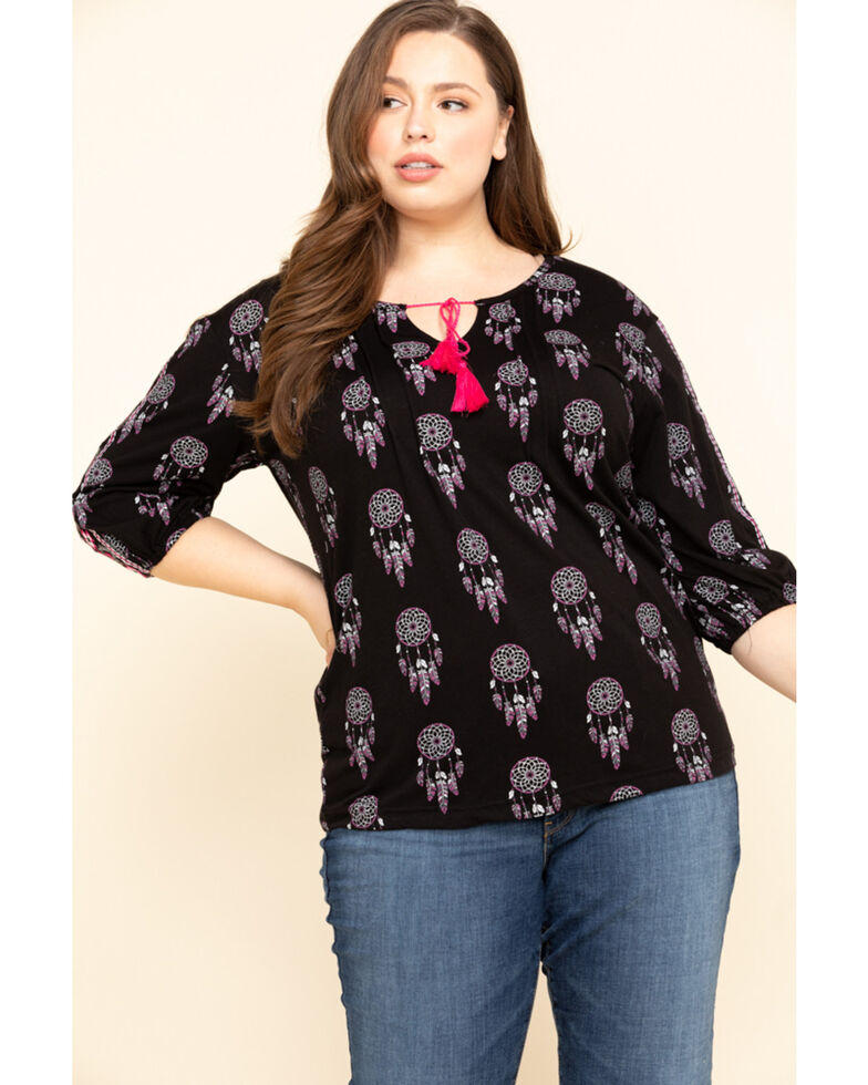 White Label by Panhandle Women's Dream Catcher Peasant Top, Black, hi-res