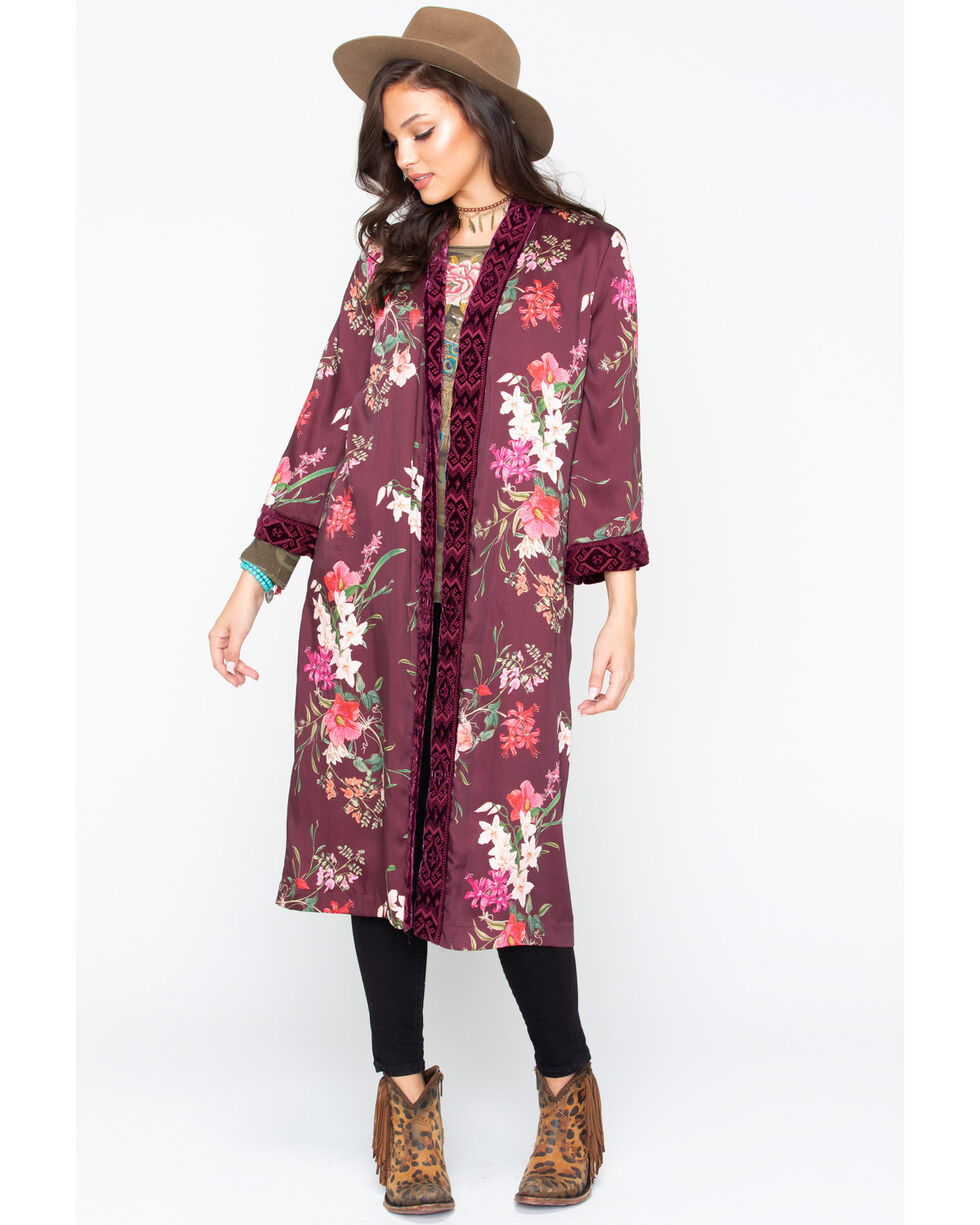 Johnny Was Women's Velvet Mix Floral Print Kimono, Multi, hi-res