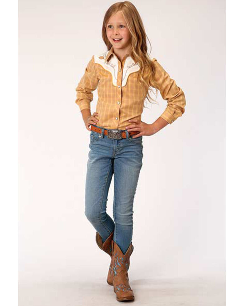 Karman Girls' Mustard Embroidered Yoke Snap Long Sleeve Western Shirt , Mustard, hi-res