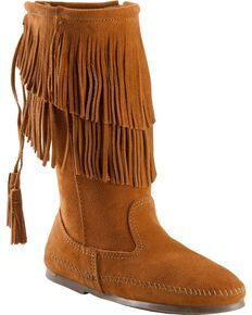 Minnetonka Layered Fringe Moccasins, Brown, hi-res