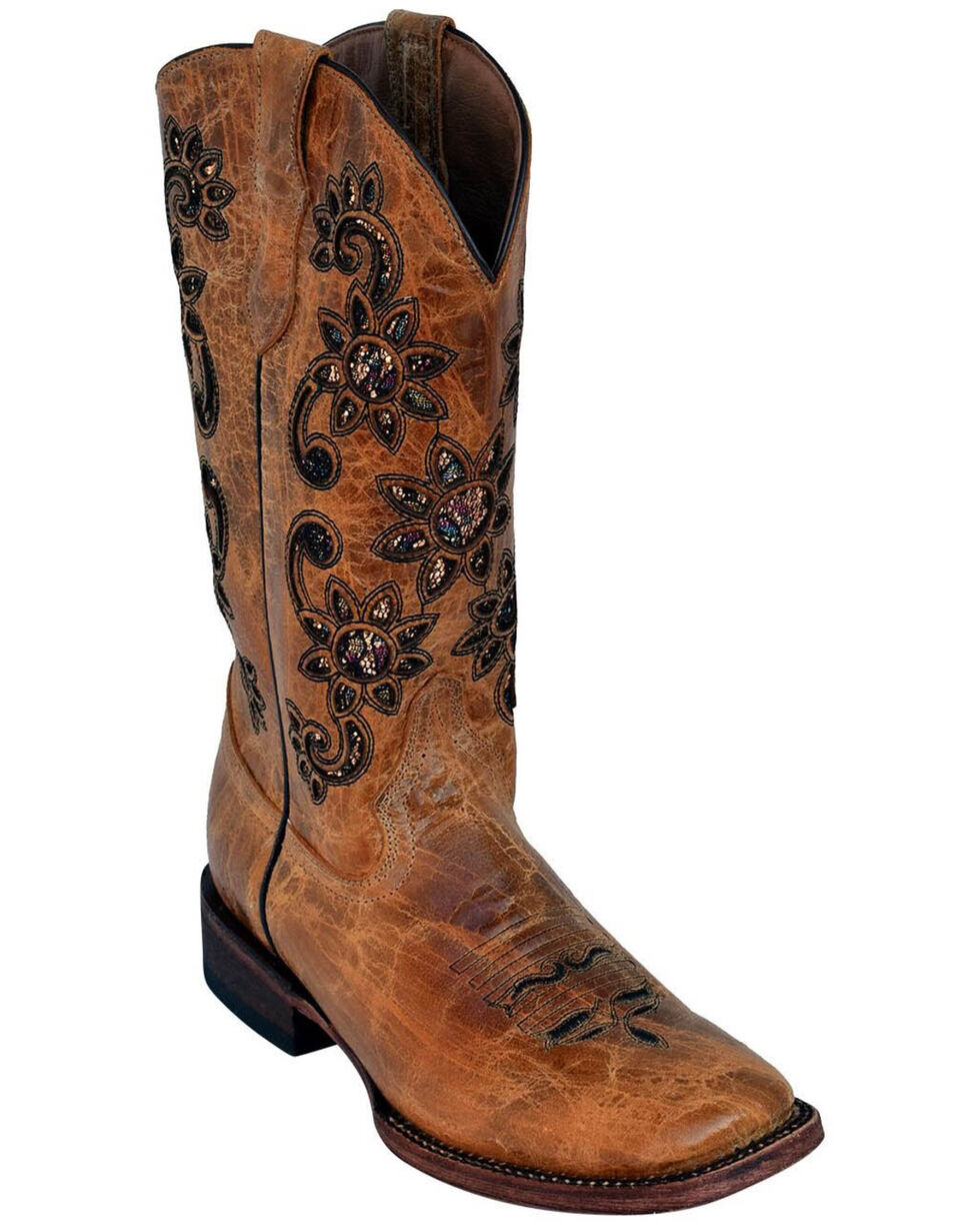 Ferrini Women's Sunflower Western Boots - Square Toe, Brown, hi-res