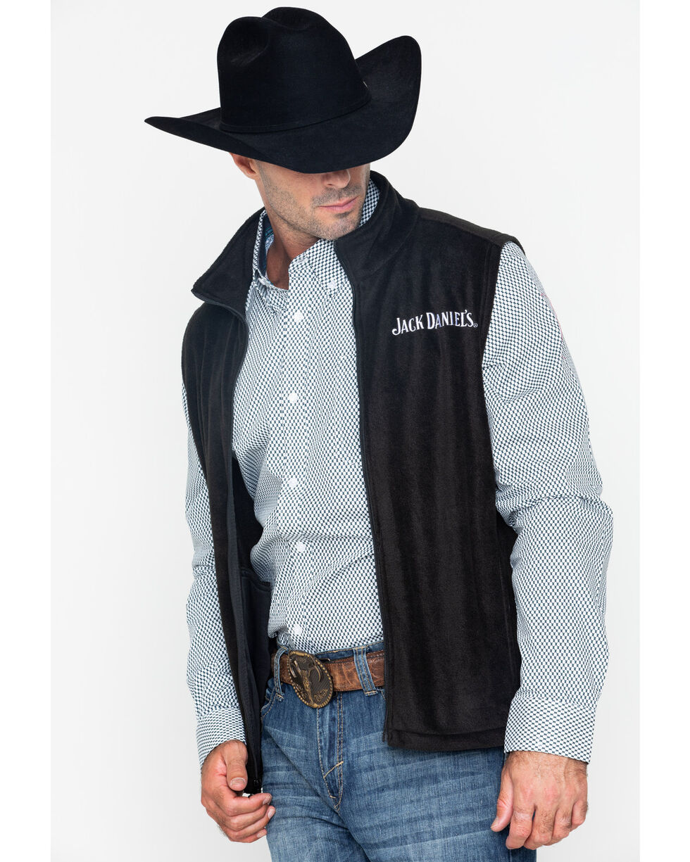 Jack Daniel's Men's Fleece Zip-Up Logo Vest, Black, hi-res