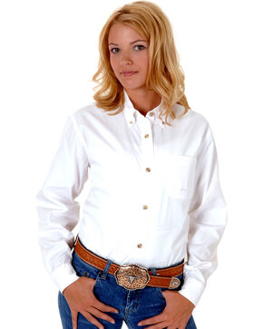 Roper Women's Amarillo Solid Button-Down Poplin Shirt - Plus, White, hi-res