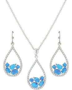 Montana Silversmiths Women's River of Light Teardrop Jewelry Set, Silver, hi-res