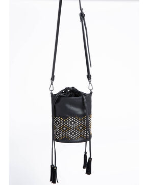 Shyanne Women's Studded Mini Drawstring Bucket Bag, Black, hi-res