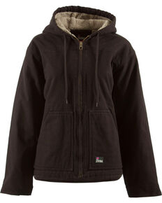 Berne Women's Washed Sherpa-Lined Hooded Coat - 3X & 4X, Dark Brown, hi-res