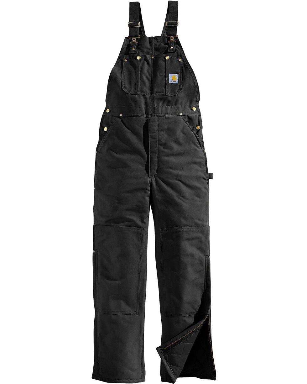 Carhartt Men's Duck Bib Quilt Lined Overall, Black, hi-res