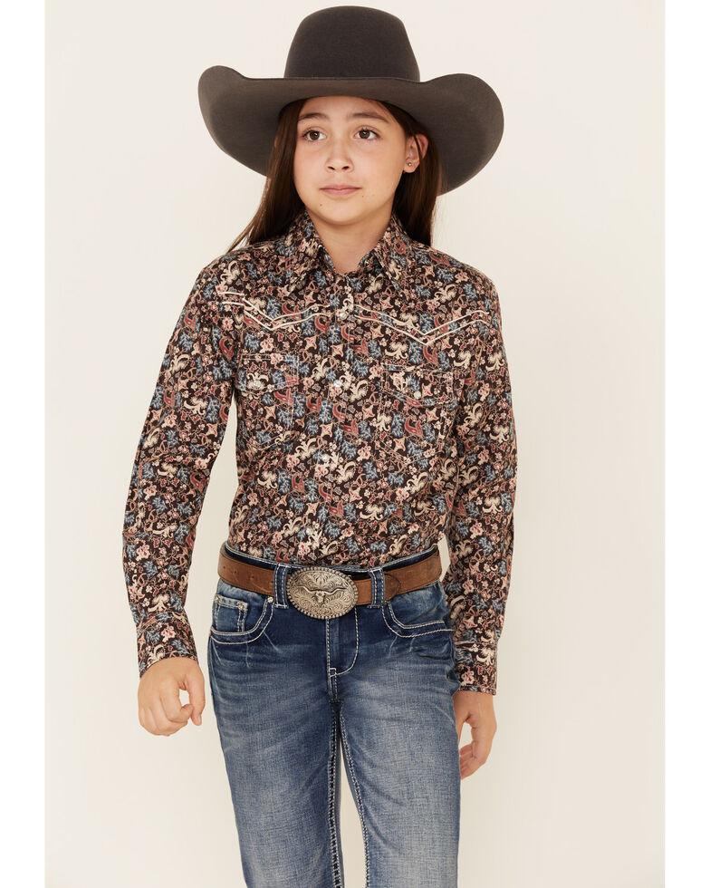 Cowgirl Hardware Girls' Multi Floral Print Long Sleeve Western Shirt , Multi, hi-res
