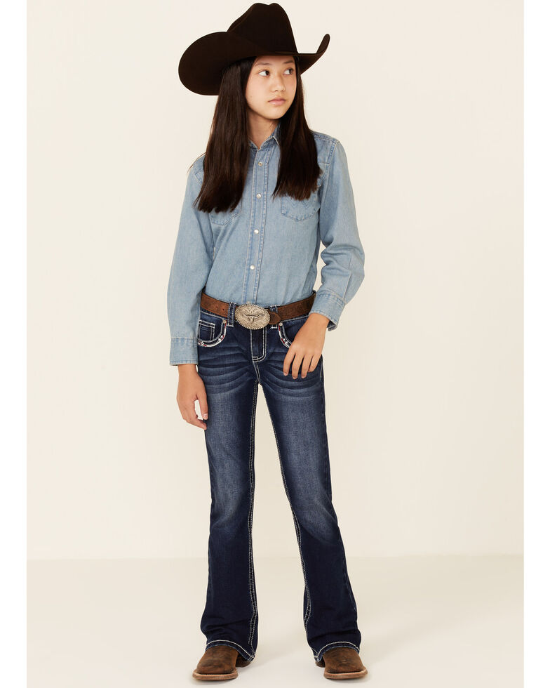 Shyanne Girls' Medium Wash Americana Pocket Embellished Bootcut Jeans - Big, Blue, hi-res