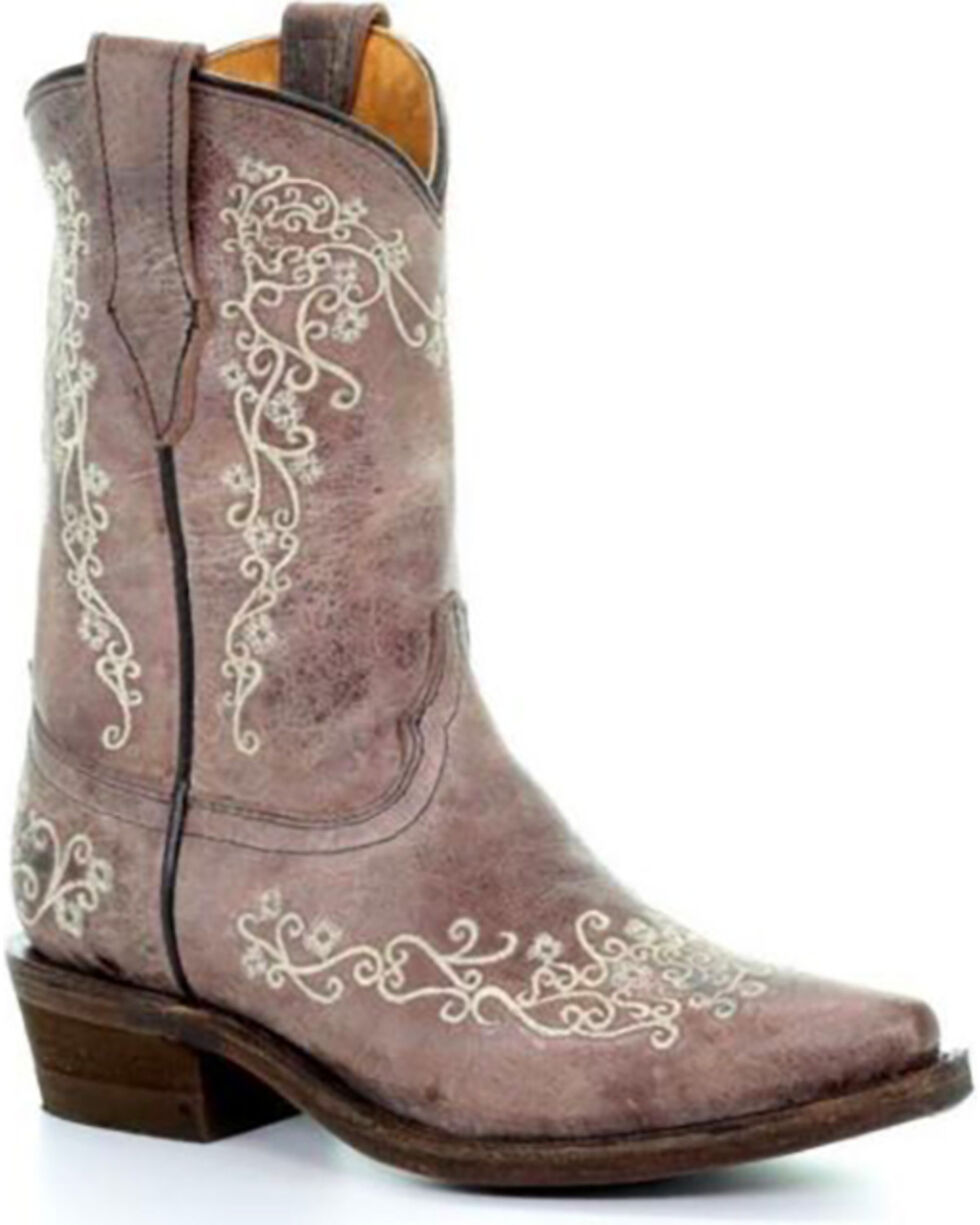 Corral Girls' Brown Crater Bone Embroidered Boots - Snip Toe , Brown, hi-res