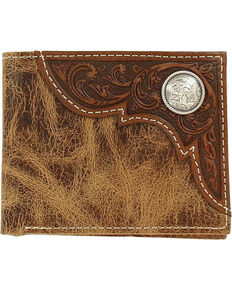 Ariat Men's Bi-Fold Embossed Overlay Wallet, Tan, hi-res