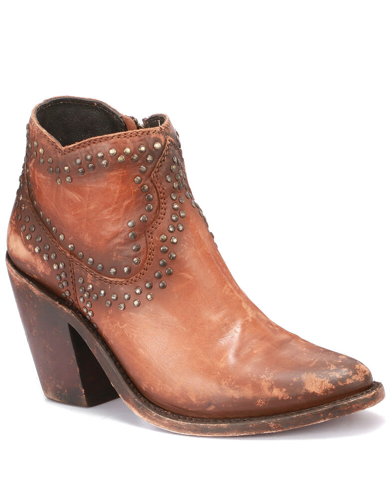 Liberty Black Women's Cognac Studded Fashion Booties - Round Toe, Cognac, hi-res