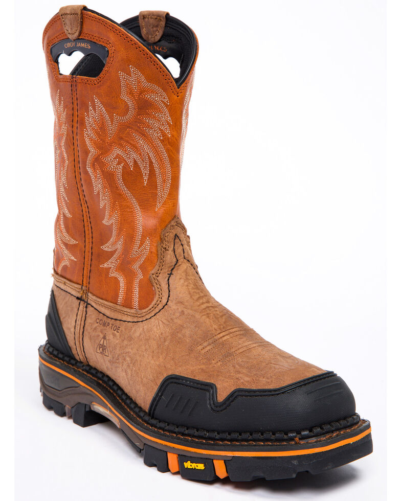 Cody James Men's Decimator Orange Top Western Work Boots - Nano Composite Toe, Brown, hi-res