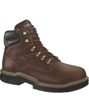"Wolverine Men's 6"" Darco Met Guard Steel Toe Work Boots, Brown, hi-res"