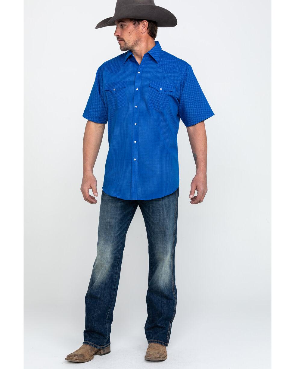 Ely Cattleman Men's Blue Small Check Plaid Short Sleeve Western Shirt -Tall , Blue, hi-res