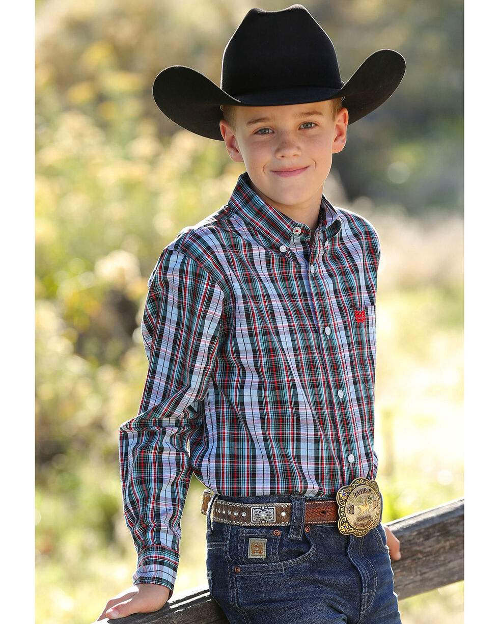 Cinch Boys' Match Dad Multi Plaid Long Sleeve Button Down Shirt, Multi, hi-res