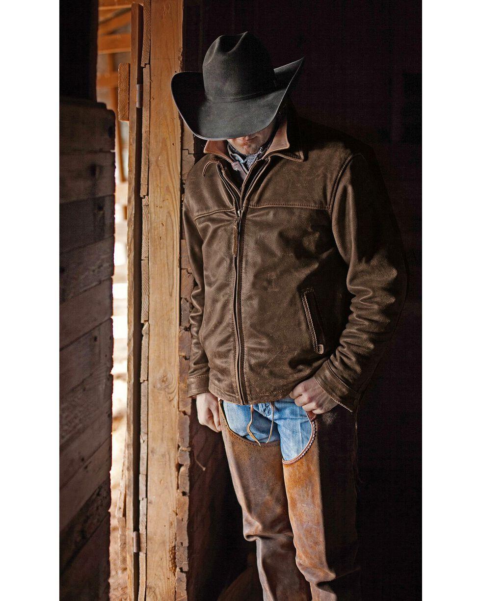 STS Ranchwear Men's Leather Rifleman Jacket, Brown, hi-res