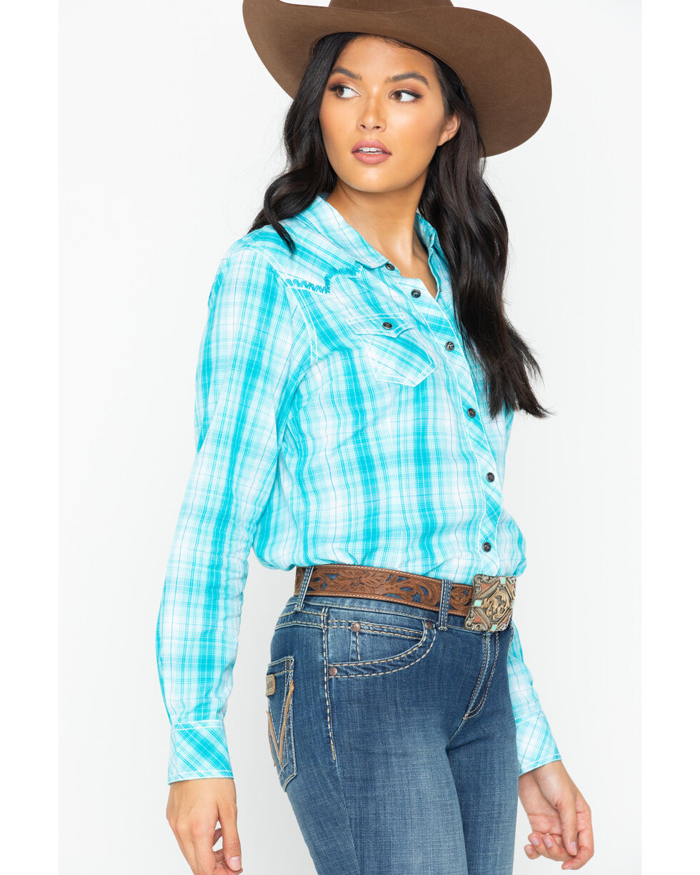 Ariat Women's Plaid Snap Shirt, Turquoise, hi-res