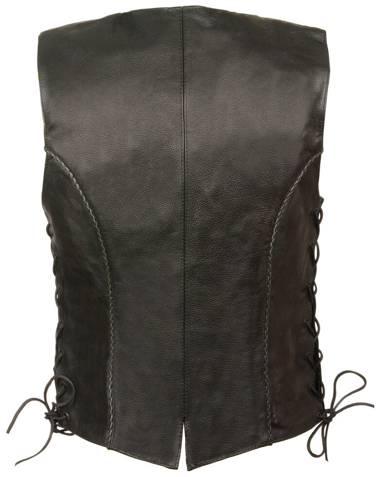 Milwaukee Leather Women's Thin Braid Snap Front Vest - 3X, Black, hi-res