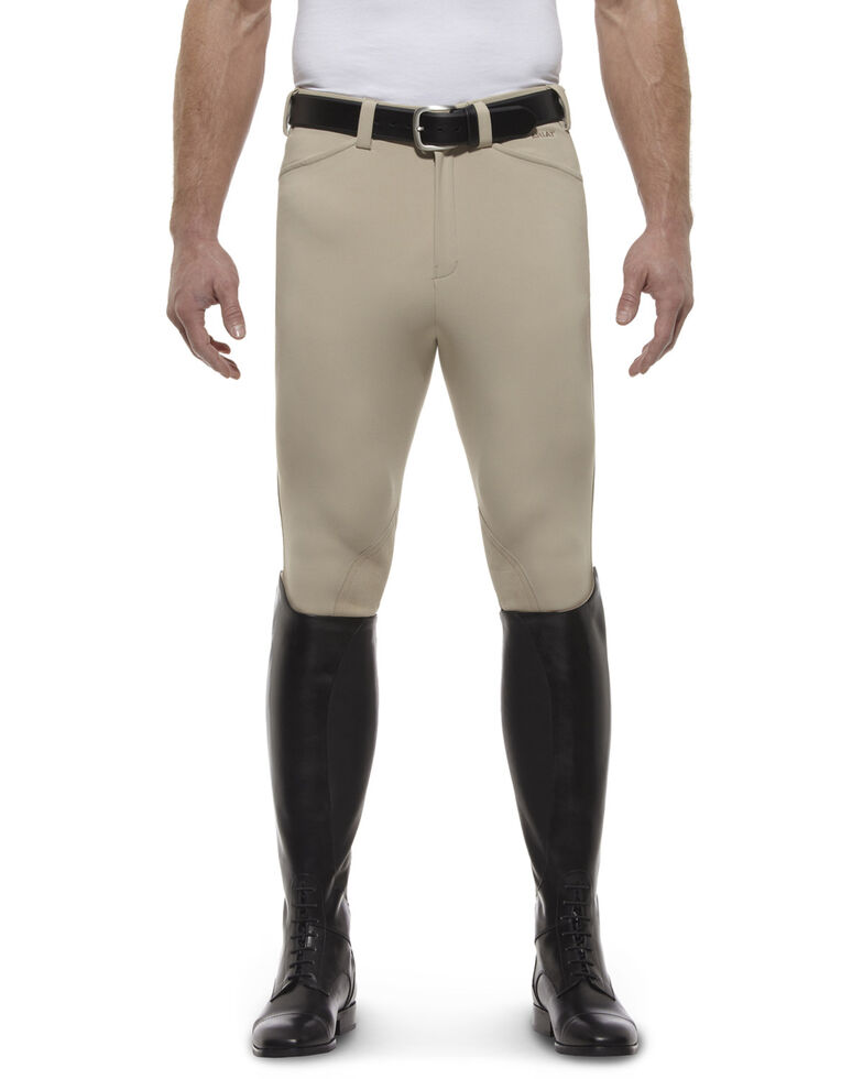 Ariat Men's Olympia Front Zip Knee Pad Riding Breeches, Tan, hi-res