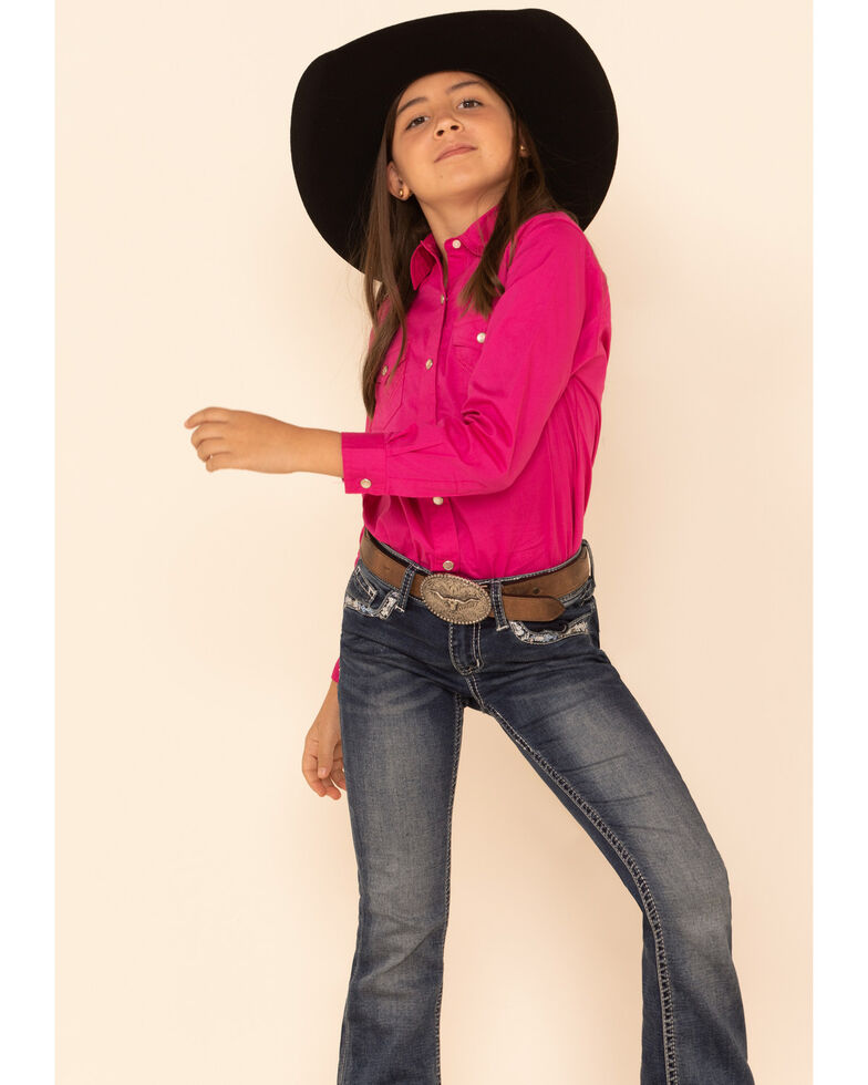 Wrangler Girls' Hot Pink Snap Long Sleeve Western Shirt , Pink, hi-res