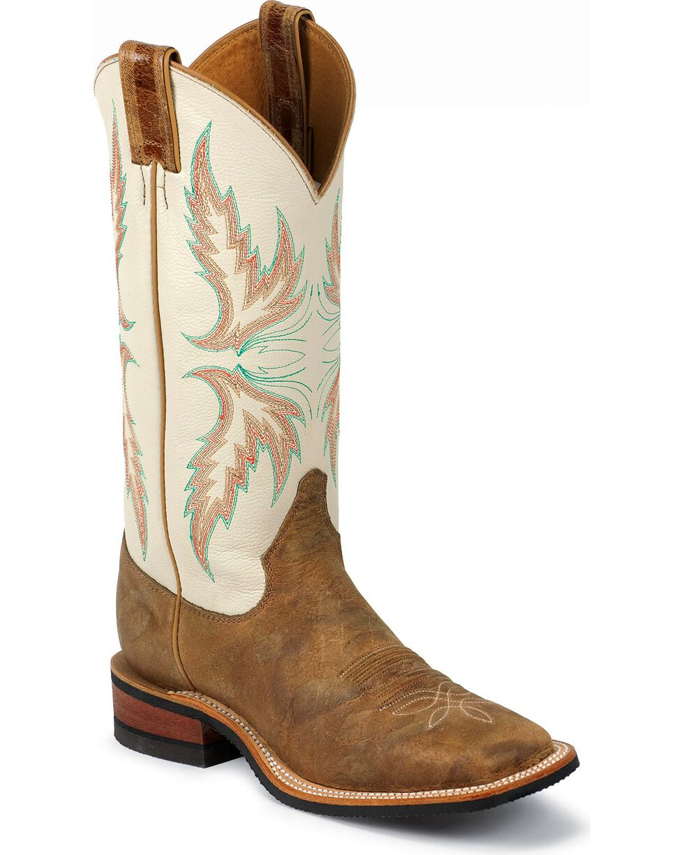 "Justin Bent Rail Women's 13"" Uvalde Ivory Cowgirl Boots - Square Toe, Tan, hi-res"