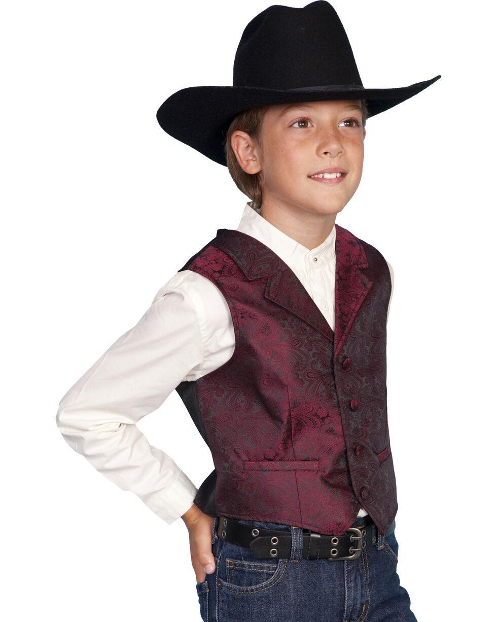 Scully Boys' Paisley Vest, Burgundy, hi-res
