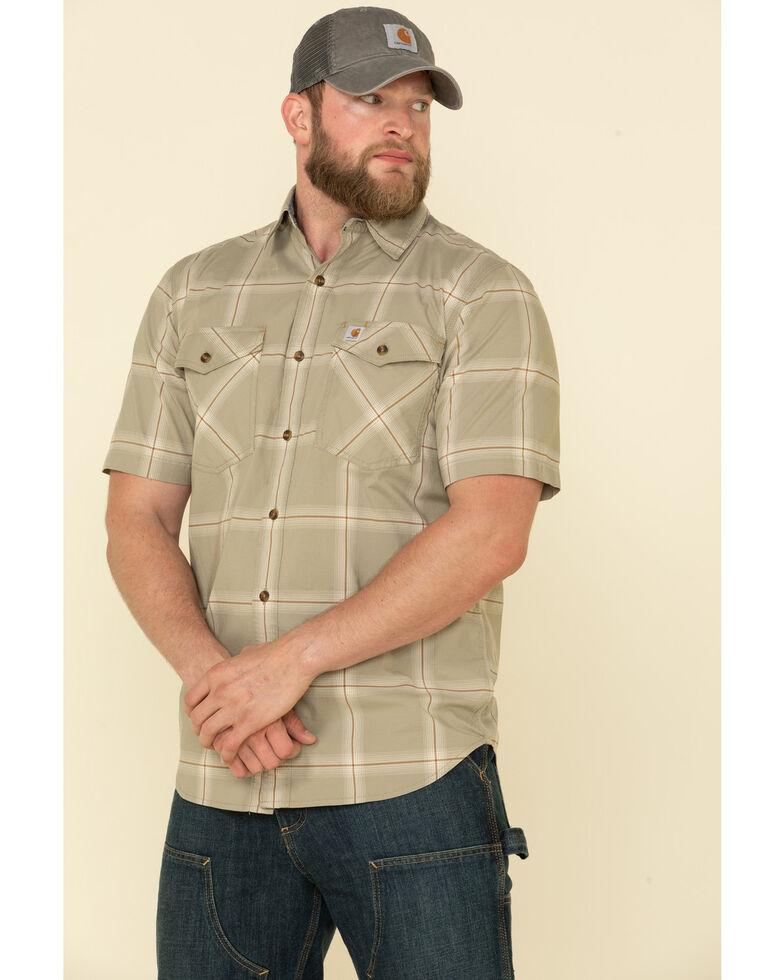 Carhartt Men's Khaki Rugged Flex Bozeman Plaid Short Sleeve Work Shirt - Big , , hi-res