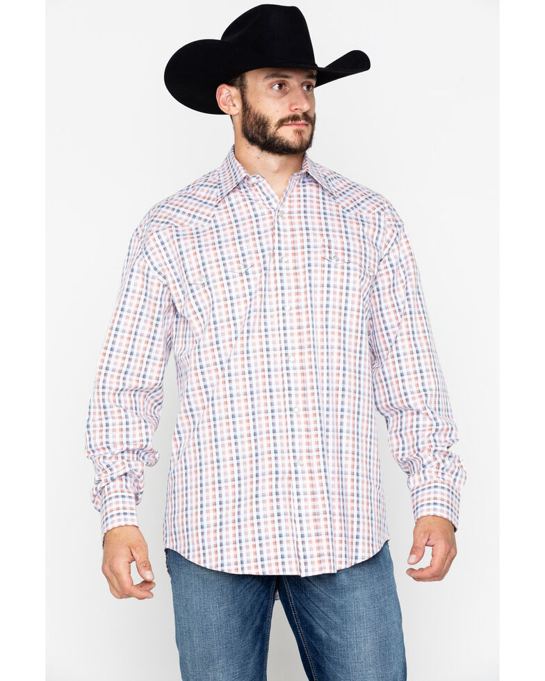 Stetson Men's Small Plaid Snap Long Sleeve Western Shirt , Orange, hi-res