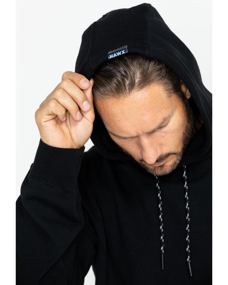 Hawx Men's Black Logo Sleeve Hooded Work Sweatshirt - Tall , Black, hi-res