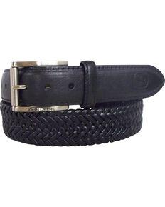 John Deere Braided Black Leather Belt, Black, hi-res