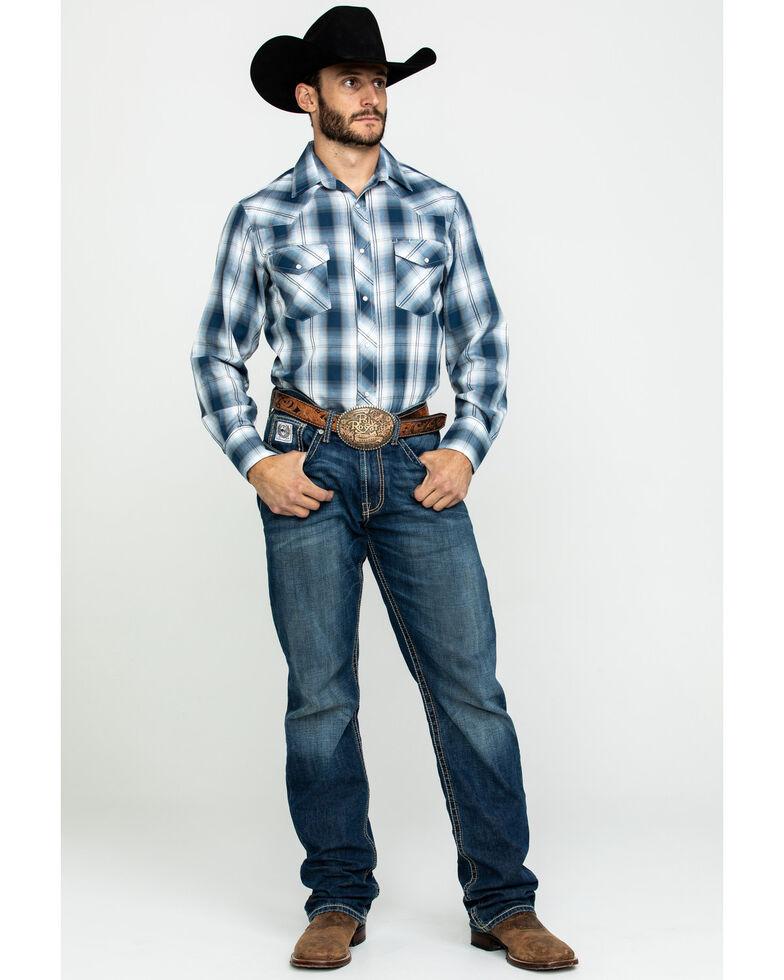 Roper Men's Classic Multi Plaid Snap Long Sleeve Western Shirt , Blue, hi-res