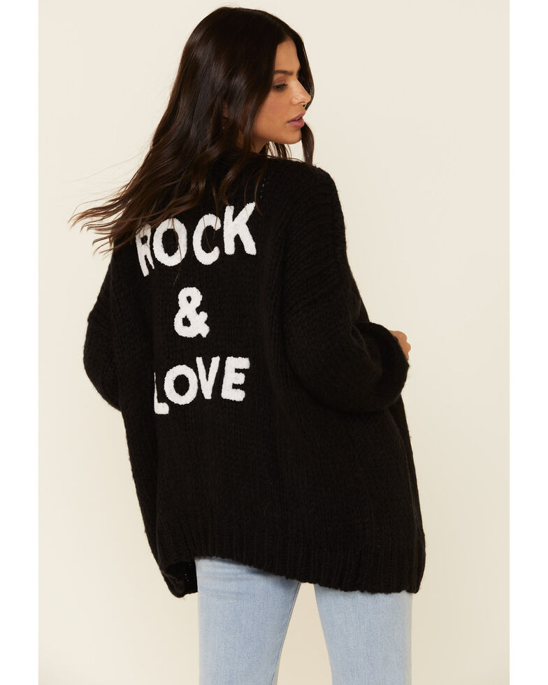 Elan Women's Rock & Love Cardi Sweater , Black, hi-res