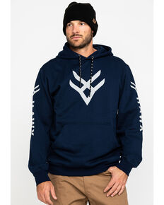 Hawx® Men's Blue Reflective Logo Performance Hooded Work Sweatshirt, Blue, hi-res
