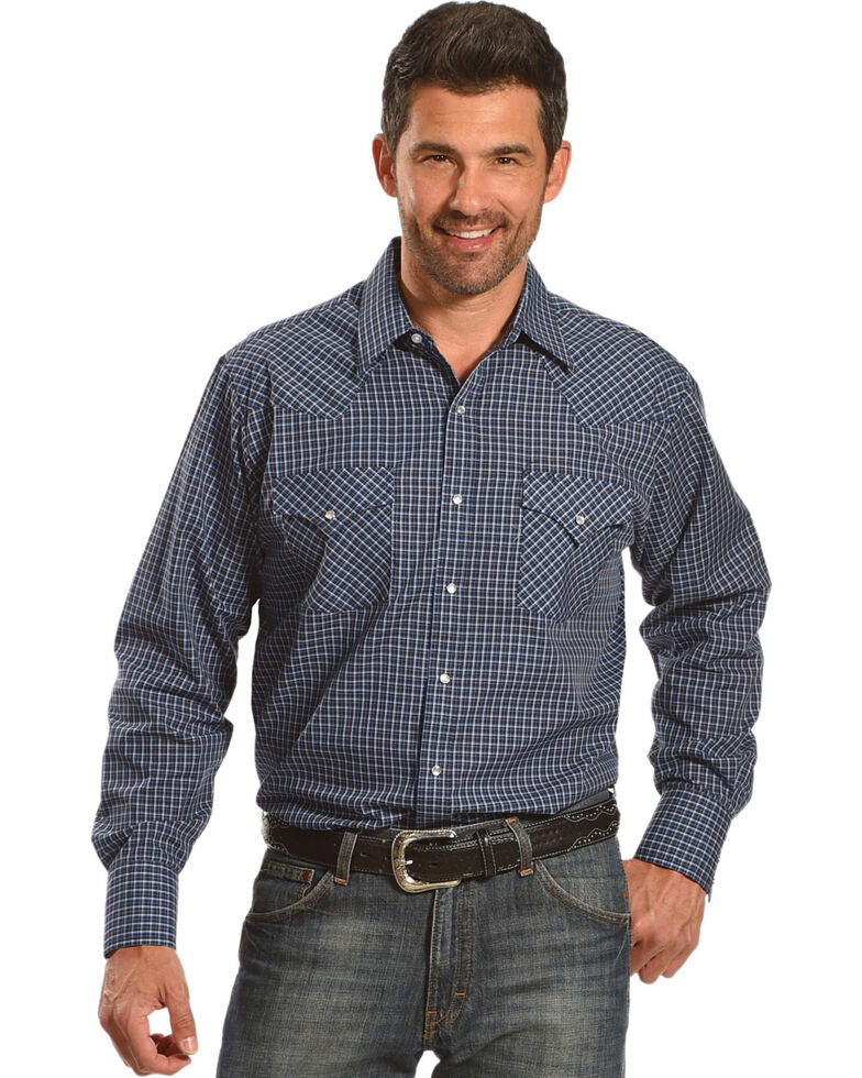 Ely Cattleman Men's Assorted Mini Check Long Sleeve Snap Shirt, , hi-res