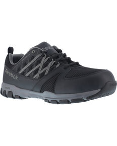 Reebok Women's Sublite Athletic Oxford Work Shoes - Steel Toe , Black, hi-res
