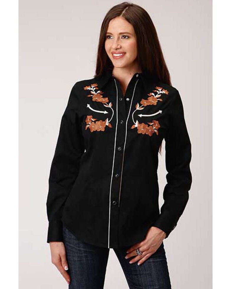 Old West Women's Black Brown Floral Embroidered Long Sleeve Western Shirt , Black, hi-res
