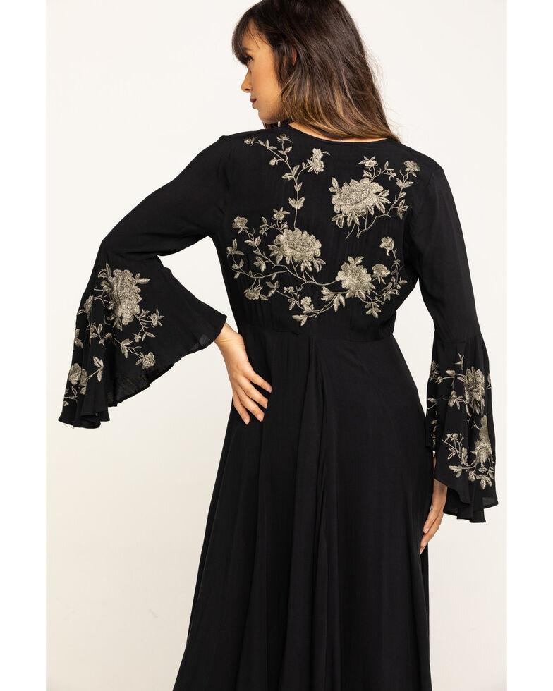 Aratta Women's Black Embroidered Bell Sleeve Kimono, Black, hi-res