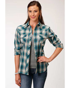 Karman Women's Green & Teal Plaid Long Sleeve Western Shirt, Multi, hi-res