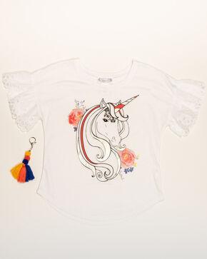 Shyanne Girls' Unicorn Flounce Sleeve Graphic Tee, White, hi-res