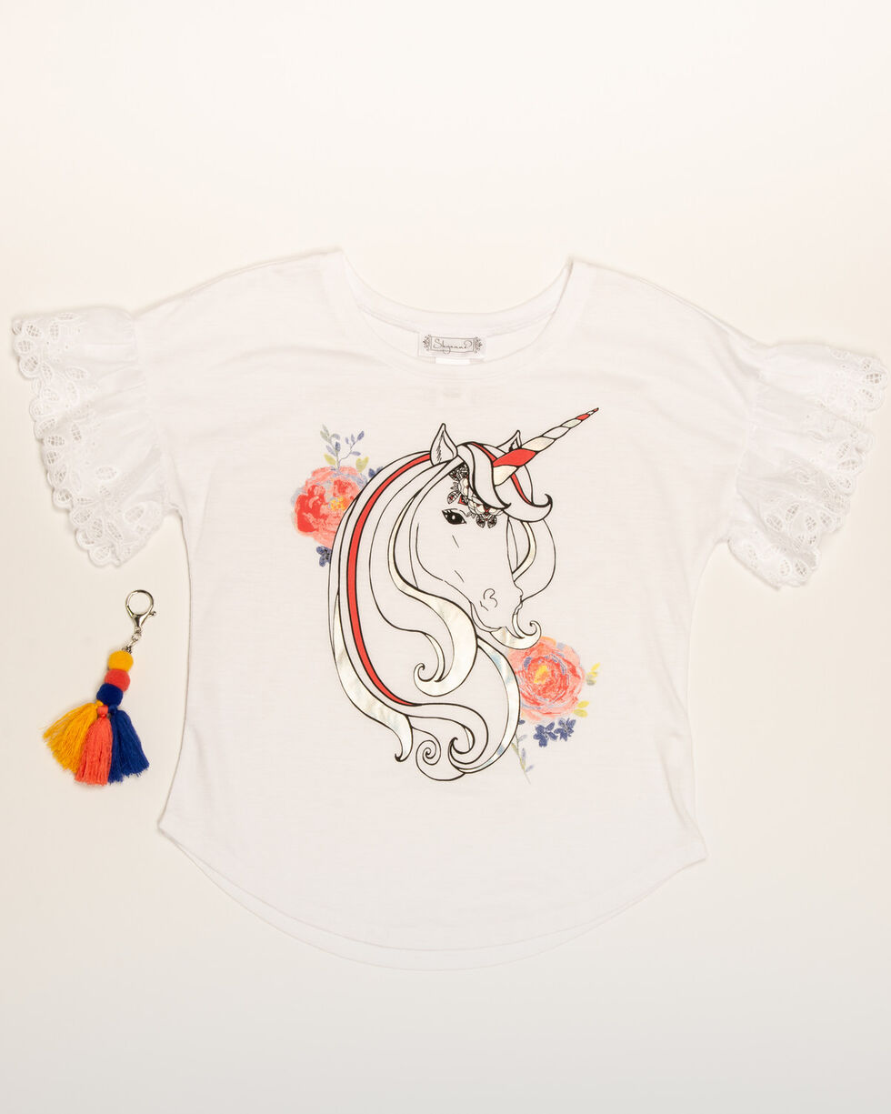 Shyanne Girls' Unicorn Flounce Sleeve Graphic Tee, White, hi-res
