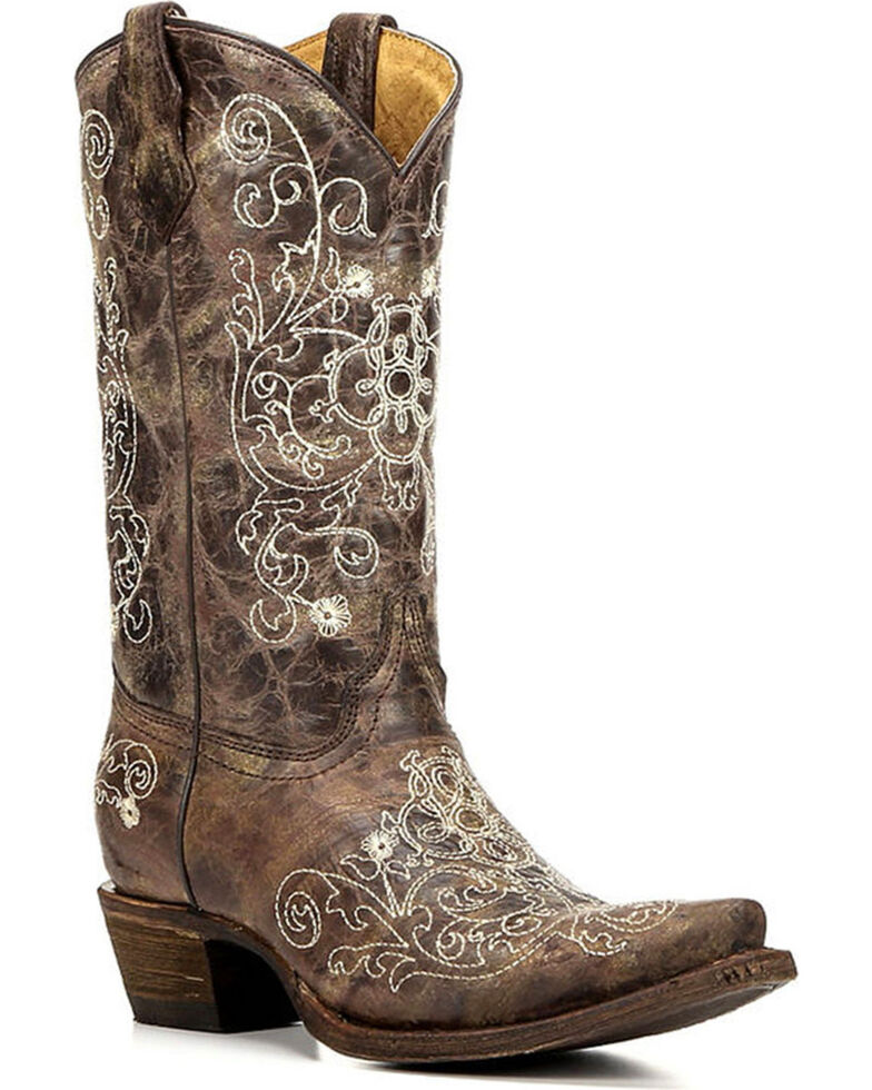 Corral Youth Embroidered Snip Toe Western Boots, Brown, hi-res