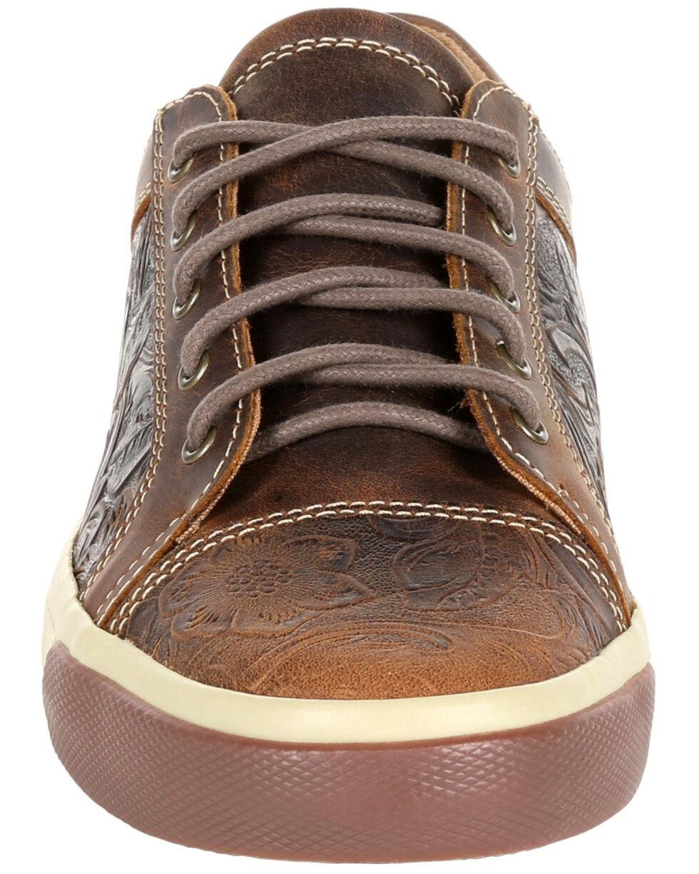 Durango Women's Music City Western Embossed Sneakers - Round Toe, Dark Brown, hi-res