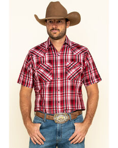 Ely Cattleman Men's Red Med Plaid Short Sleeve Western Shirt , Red, hi-res